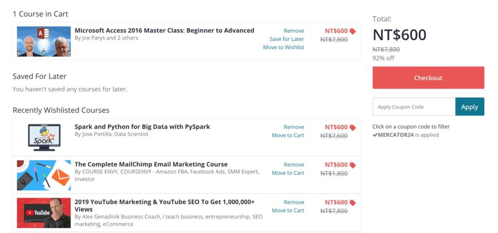 在Udemy上,大部份的課程定價都很貴,NTD5800、6800、7800。事實上,應該沒什麼人會用這個價格購入課程,因為Udemy上常常會有促銷活動,而且折數驚人,92%Off或96%Off。
